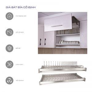 Giá bát cố định 3 tầng inox nan (H-BD1580P)