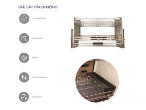 Giá bát đĩa di động inox304 mờ (H-BD136D)