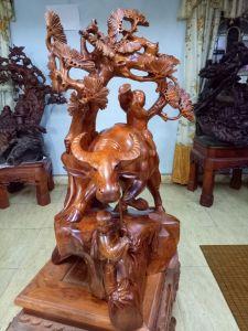 Tiểu đồng chăn trâu (đứng) - gỗ hương- 77x43x42