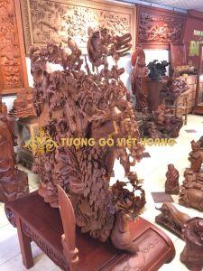 tranh tứ quý cả đế- gỗ hương-155x110x50