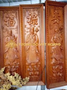 tranh phúc lộc thọ- gỗ hương-133x39x5,5