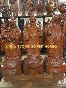 Tượng phúc lộc thọ- gỗ hương-61x20x18