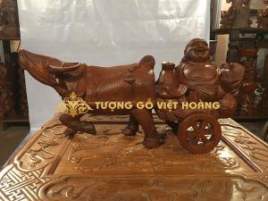 trâu kéo xe- gỗ hương- 23x50x14