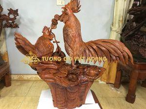 gia đình gà- gỗ hương- 80x65x30