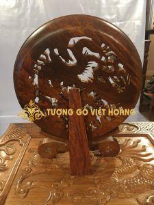 Đĩa tứ linh- gỗ hương- đường kính 30 x dày 4