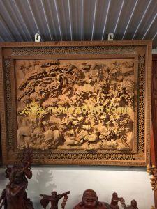 tranh bốn mùa- gỗ hương-129x106x6