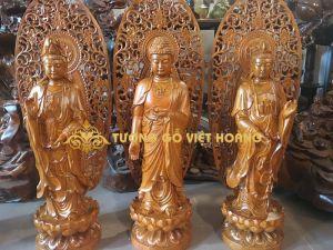 Bộ tượng Tây Phương Tam Thánh- gỗ hương- cao1métx23x23