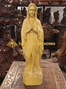 Bà chúa đức mẹ- gỗ pơ mu-65x17x14