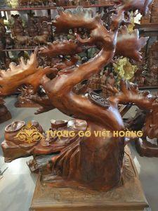 Di lặc ngồi gốc đào- gỗ hương-92x78x45