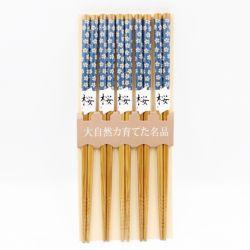 set 5 đôi đũa nhật màu xanh
