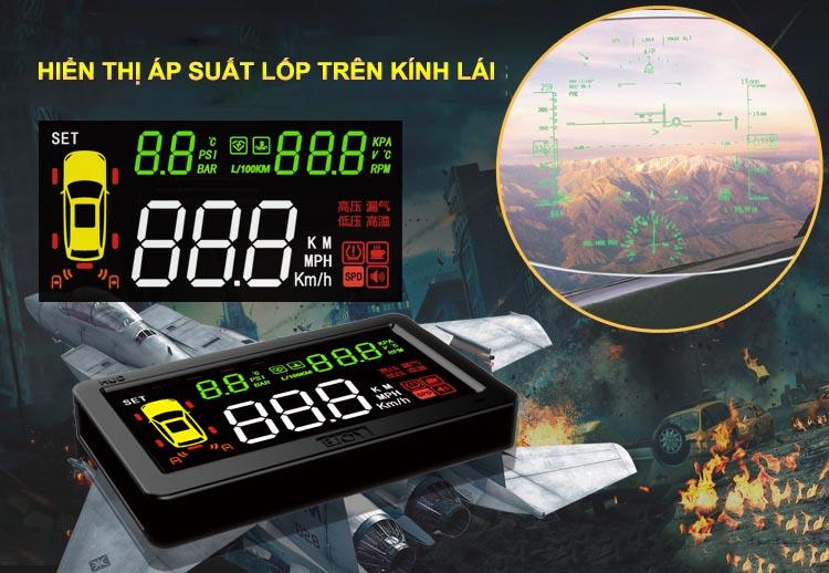 Hiển thị tốc độ và áp suất lốp lên kính lái