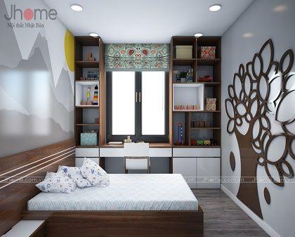 Thiết kế, thi công nội thất phòng ngủ con chung cư Ecolife Capitol - Nội thất Jhome