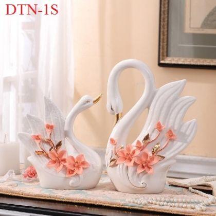 Cặp thiên nga sứ trắng hoa cam cao cấp