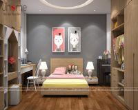 Thiết kế, thi công nội thất phòng ngủ con gái nhà phố Dương Quảng Hàm - Nội thất Jhome