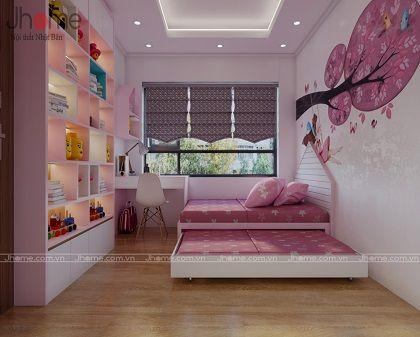 Thiết kế, thi công nội thất phòng ngủ con gái chung cư Vinhomes Gardenia - Nội thất Jhome