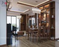 Thiết kế nội thất chung cư Vimeco gỗ óc chó - Nội thất Jhome