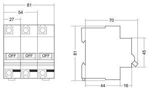 MCB SINO PS001H 1P ~230VAC 10KA 80A