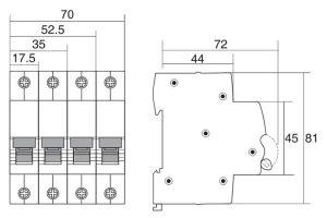 MCB SINO SC68N 3P ~415VAC 6KA 6A