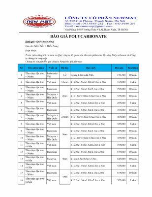 Báo giá tấm polycarbonate đặc, rỗng 2019-2020
