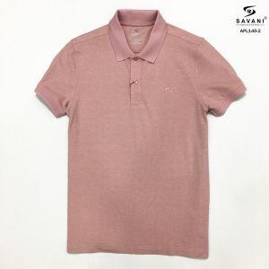 Áo polo hồng nhạt cổ dệt bo tay