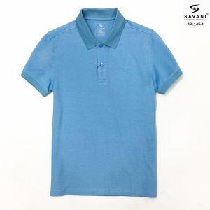 Áo polo xanh ngọc cổ dệt bo tay