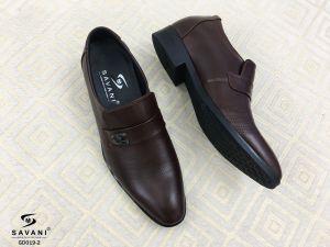 Giày nâu đai ngang ht 3 viền chấm nhỏ
