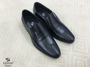 Giày đen trơn viền mũi ht SDROLUN