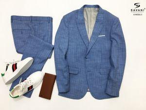 Áo vest xanh nhạt kẻ sọc
