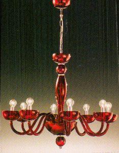Đèn chùm pha lê Tizano mầu đỏ, 8 bóng