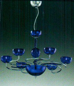 Đèn chùm tay kim loại Virgo, chụp pha lê xanh, 8 bóng