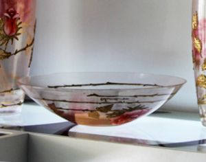 Bát hoa vẽ tay nghệ thuật Gipar, D40xH10cm