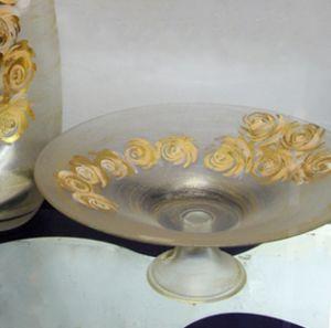 Bát hoa vẽ tay nghệ thuật Gipar, H15xD40cm