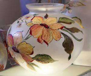 Lọ hoa vẽ tay nghệ thuật Gipar, D28xH25cm