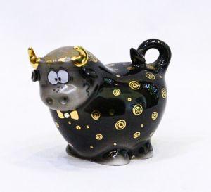 Lọ đựng muối tiêu Bò Buzzy, sứ đen mạ vàng H7cm