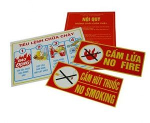 Bộ tiêu lệnh, nội quy, cấm lửa, cấm hút thuốc (đủ bộ)
