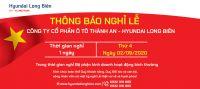 Thông báo lịch nghỉ lễ Quốc Khánh 2/9/2020 |Hyundai Long Biên by TC MOTOR