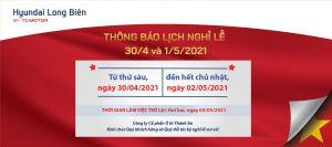 Thông báo LỊCH NGHỈ LỄ 30/4 và 1/5/2021 |Hyundai Long Biên by TC MOTOR