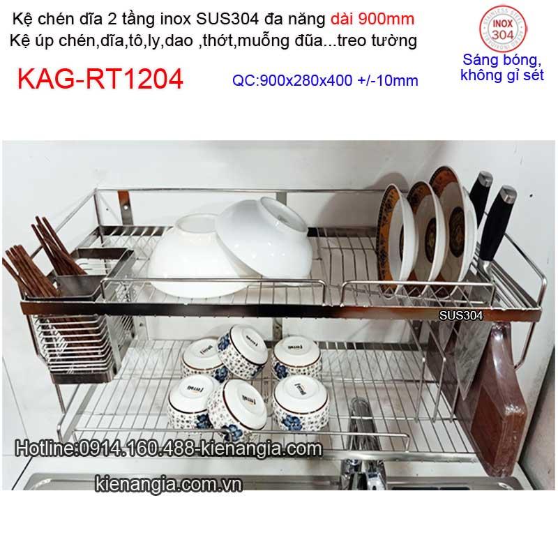 Kệ inox 2 tầng đa năng 900mm treo tường,treo tủ bếp KAG-RT1204