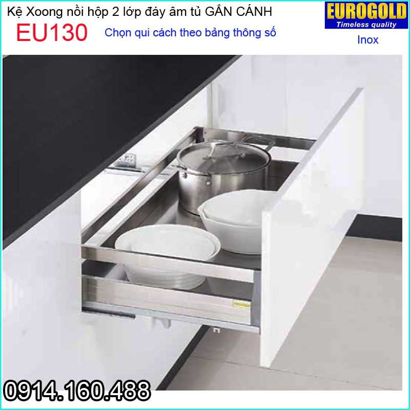 Kệ xoong nồi inox hộp gắn cánh EUROGOLD-EU130