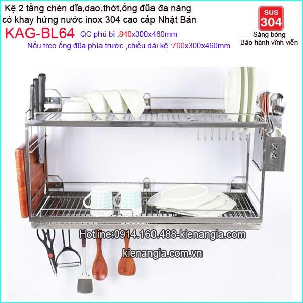 KAG-BL64-Ke-inoc-304-chen-dia-2-tang-da-nang-khay-hung-nuoc-700-Bliro-KAG-BL64