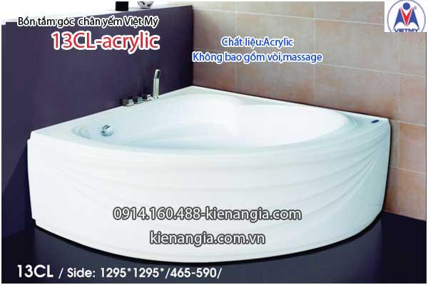 Bồn tắm góc chân yếm 1,3m Việt Mỹ VM13CL-Acrylic