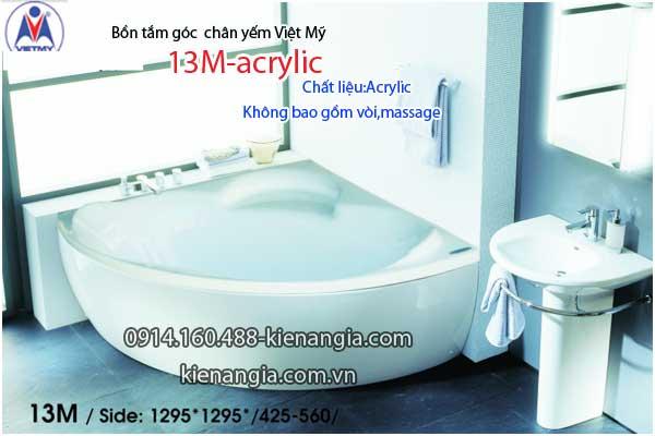 Bồn tắm góc 1,3m chân yếm Việt Mỹ VM13M-Acrylic