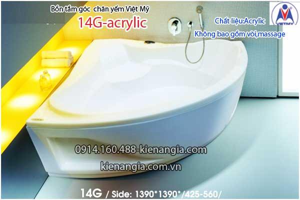 Bồn tắm góc 1,4m chân yếm Việt Mỹ VM14G-Acrylic
