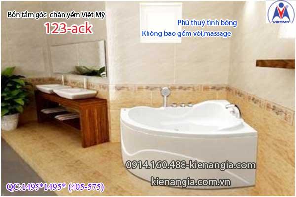 Bồn tắm góc 1,2m chân yếm Việt Mỹ VM123-Acrylic