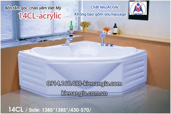 Bồn tắm góc 1,4m chân yếm Việt Mỹ VM14CL-Acrylic