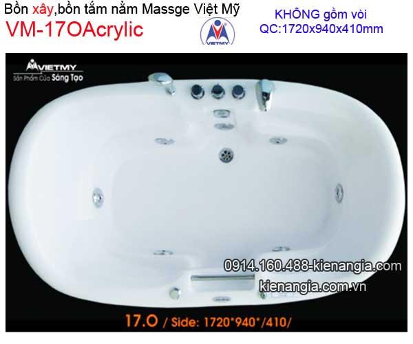Bồn tắm nằm xây massage Acrylic Việt Mỹ VM17OAcrylic-Mass