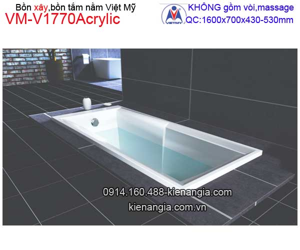 Bồn tắm nằm xây Acrylic Việt Mỹ  VM-V1770Acrylic