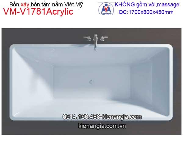 Bồn tắm nằm xây Acrylic Việt Mỹ VM-V1781Acrylic