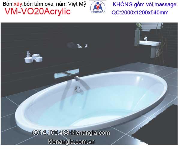 Bồn xây oval Acrylic Việt Mỹ VM-VO20Acrylic