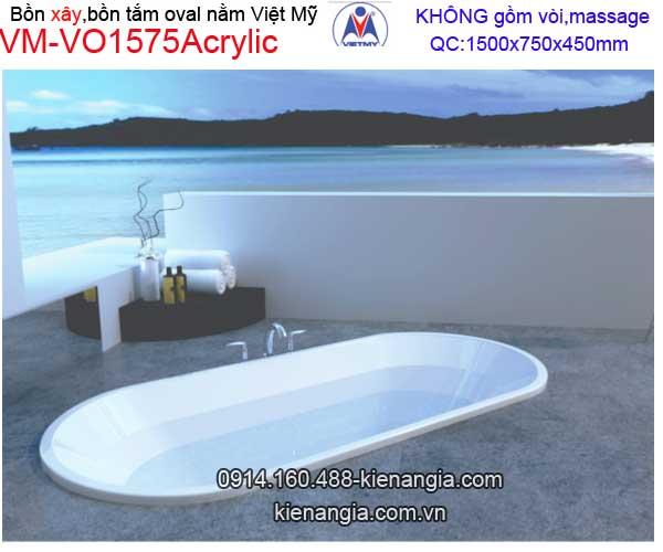 Bồn xây oval Acrylic Việt Mỹ VM-VO1575Acrylic